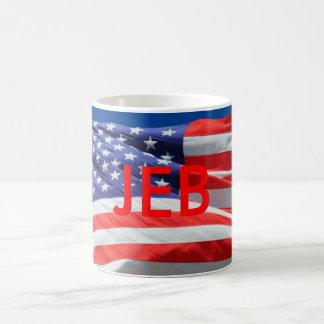 Jeb Running President USA, American Flag, Mug