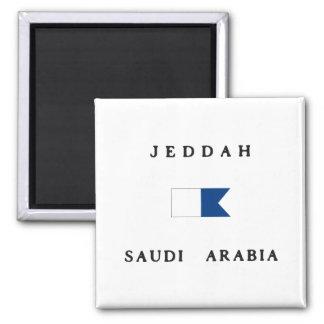 Jeddah Saudi Arabia Alpha Dive Flag Square Magnet
