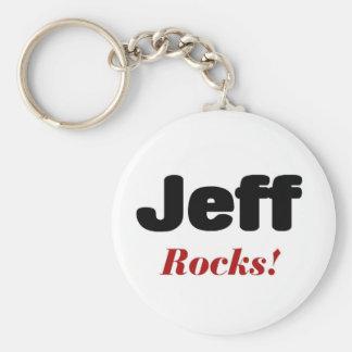Jeff rocks basic round button key ring