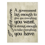 Jefferson: Beware of Big Government Postcard