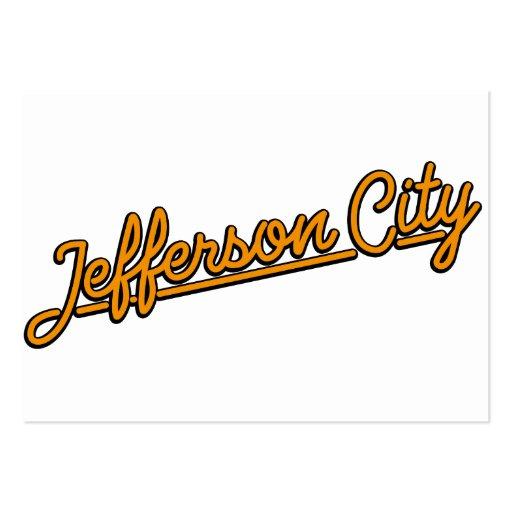 Jefferson City in orange Business Card Template