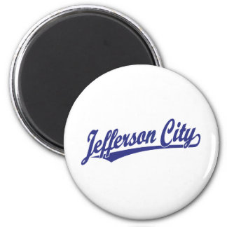 Jefferson City script logo in blue 6 Cm Round Magnet
