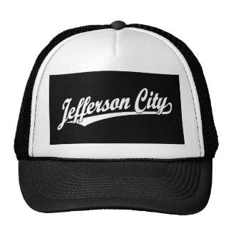 Jefferson City script logo in white Cap