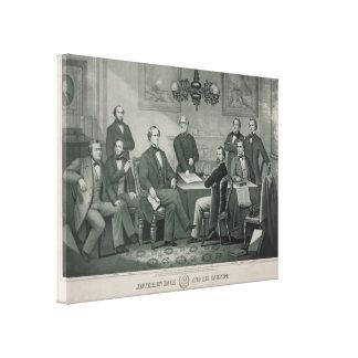 Jefferson Davis and cabinet in Richmond Capitol Canvas Prints