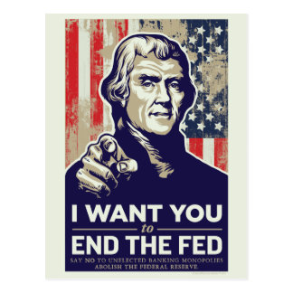 Jefferson End The Fed Postcard