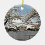 Jefferson Memorial Washington DC Cherry Blossoms Round Ceramic Decoration