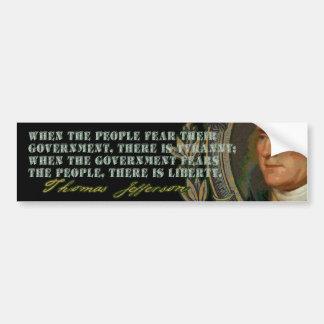 Jefferson Quote: Government and the People Bumper Bumper Sticker