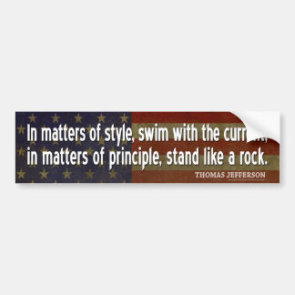Jefferson Quote: In matters of style, swim with... Bumper Sticker