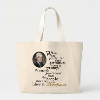 Jefferson Tyranny-Liberty Quote Large Tote Bag