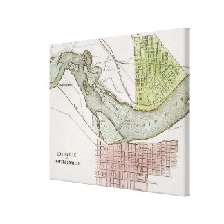 JEFFERSONVILLE, INDIANA: MAP CANVAS PRINT