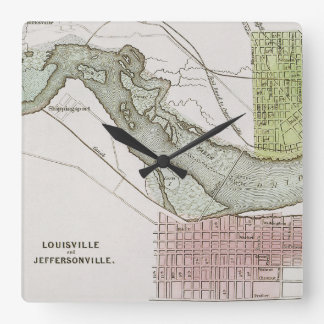 JEFFERSONVILLE, INDIANA: MAP SQUARE WALL CLOCK