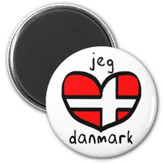 Jeg Elsker Danmark 6 Cm Round Magnet