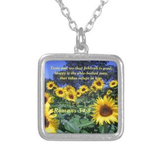Jehovah, God, is Good Romans 34:8 Square Pendant Necklace