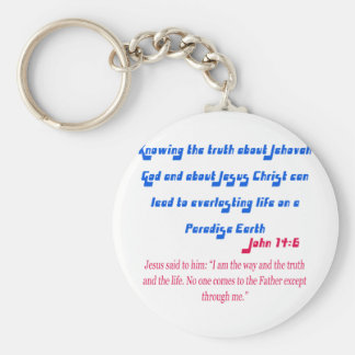 Jehovah's Witness John14-6 Basic Round Button Key Ring