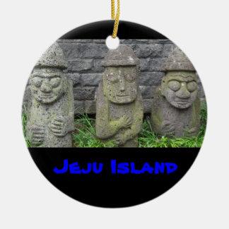 Jeju Grandfathers, Jeju Island Round Ceramic Decoration