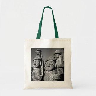 Jeju Stone Grandfather Statues Harubang BW Budget Tote Bag