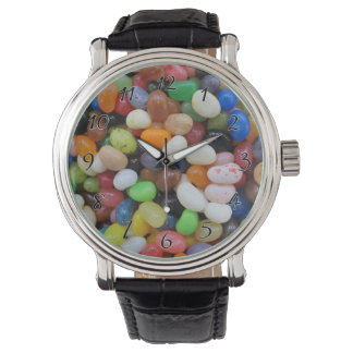 Jelly Bean black blue green Candy Texture Template Wristwatches