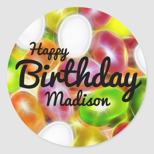 Jelly Bean Candy Personalised Happy Birthday Classic Round