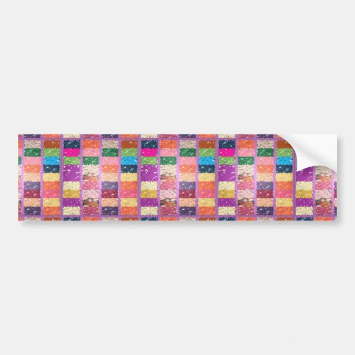 JELLY BEANS Checkered Artistic Graphic Sweets Bumper Stickers