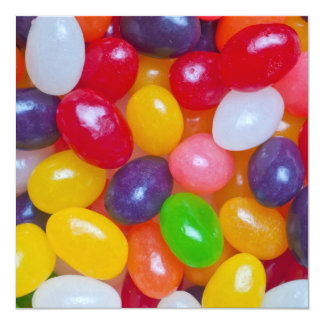 """Jelly Beans Easter Jellybean Template 5.25"""" Square Invitation Card"""