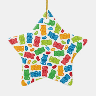 Jelly Beans & Gummy Bears Pattern Christmas Ornament