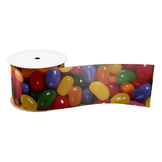 Jelly Beans on Silk Ribbon Satin Ribbon
