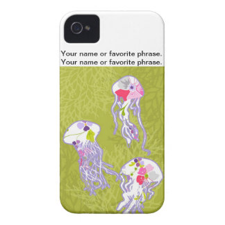 Jelly fishes on lime green background. Case-Mate iPhone 4 case