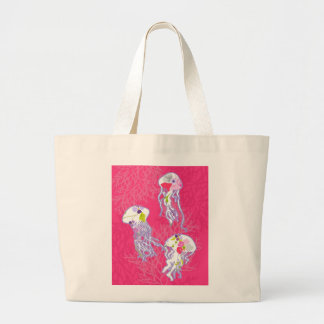 Jelly fishes on plain pink background bag