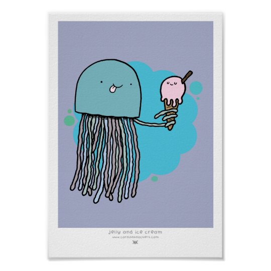 Jellyfish and ice cream A4 print lilac background