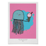 Jellyfish and ice cream A4 print (PINK BACKGROUND)