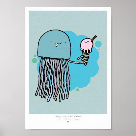 Jellyfish and ice cream A4 print Sage background