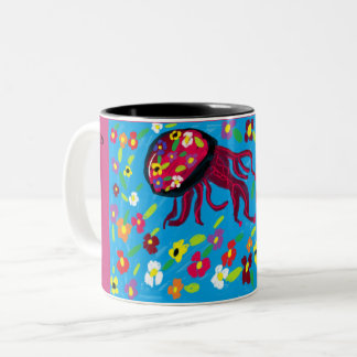 jellyfish art Two-Tone coffee mug