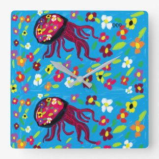 jellyfish art wall clock