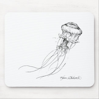 Jellyfish Black & White Drawing Mouse Pad