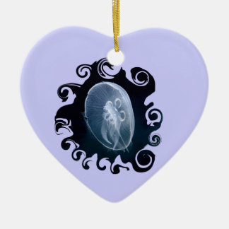 Jellyfish Bright Blue Birthday Romantic Heart Double-Sided Heart Ceramic Christmas Ornament