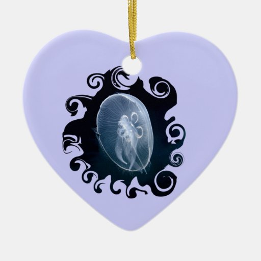 Jellyfish Bright Blue Birthday Romantic Heart Ornament