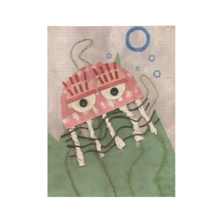 Jellyfish Comb Wooden Poster