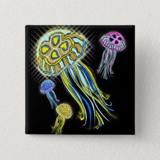 Jellyfish Group 15 Cm Square Badge