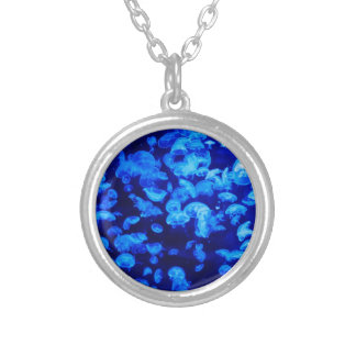 Jellyfish in Deep Blue Sea Silver Plated Necklace
