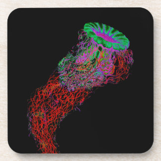 Jellyfish in Neon Colors Coaster