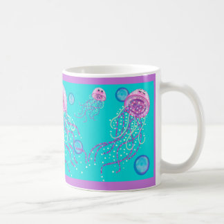 Jellyfish in the Blue 11 oz. mug by Artist Kathi D
