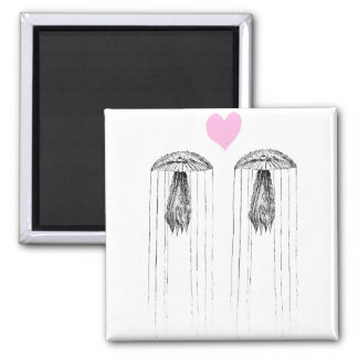 Jellyfish Love Square Magnet