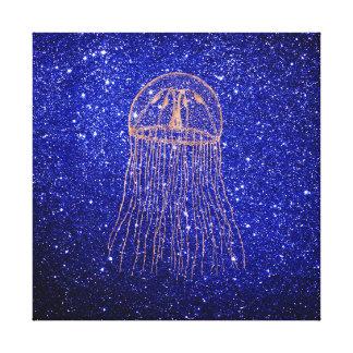 Jellyfish Marine Sea Ocean Life Pink Rose Gold Canvas Print