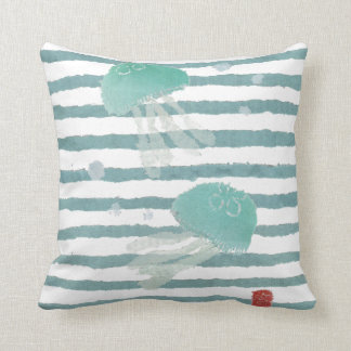 Jellyfish on Aqua Blue Stripe Pillow