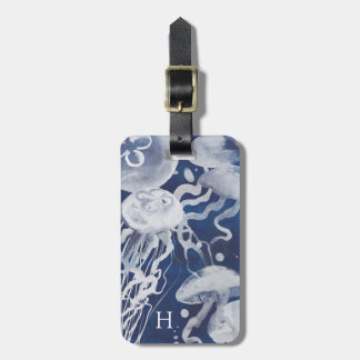 Jellyfish on Navy Background Luggage Tag