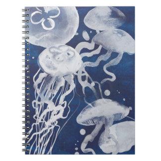 Jellyfish on Navy Background Notebook