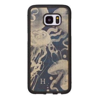 Jellyfish on Navy Background Wood Samsung Galaxy S7 Edge Case