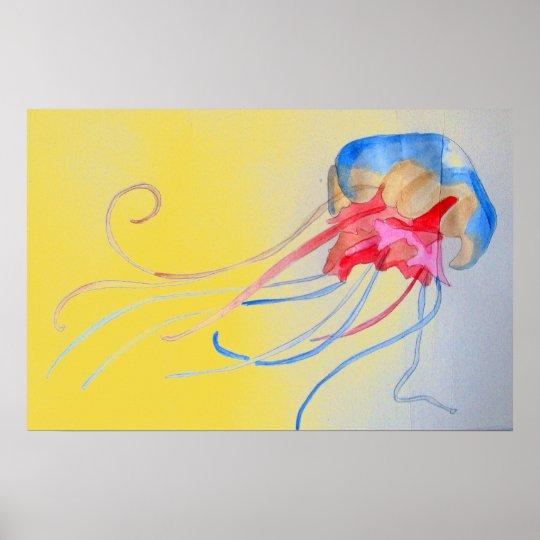 Jellyfish on the sand original art illustration poster