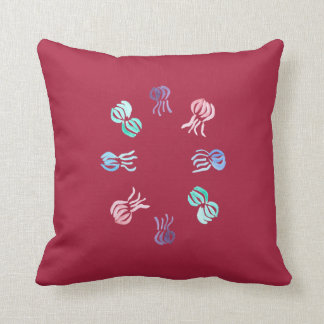 Jellyfish Polyester Throw Pillow 16'' x 16''
