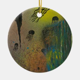 Jellyfish rising christmas ornament